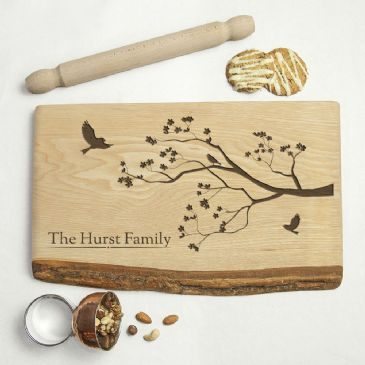 Personalised Family Tree Rustic Wood Serving Board